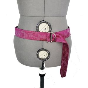 Pink Old Navy Tie Sash Belt Silver Buckle Paisley